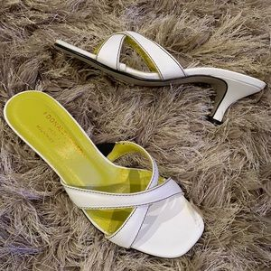 Donald J Pliner White/Lime KIKI Kitten Heel Sandal